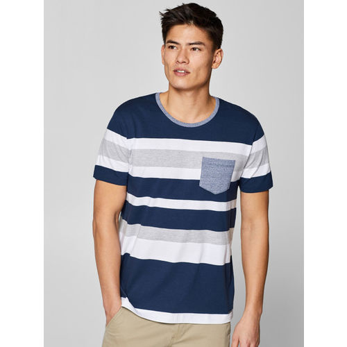 ESPRIT Men Navy Blue & White Striped Round Neck T-shirt
