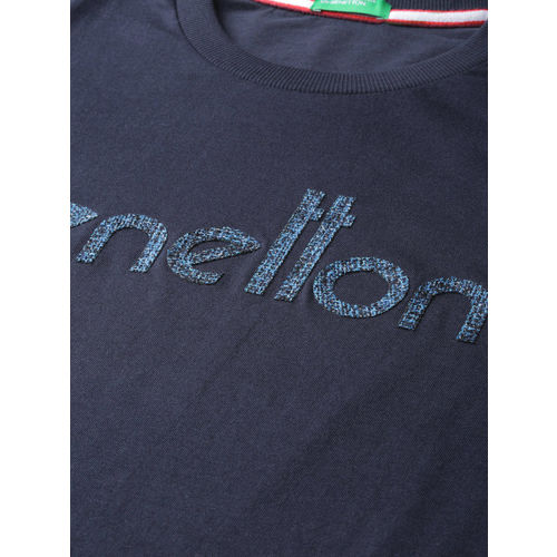 United Colors of Benetton Men Navy Blue Printed Detail Round Neck T-shirt