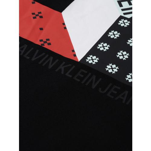 Calvin Klein Jeans Men Black Printed Round Neck T-shirt