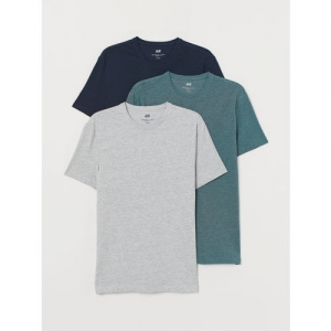 H&M Men Blue 3-pack T-shirts Slim Fit