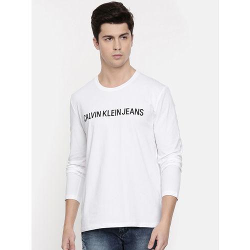 Buy Calvin Klein Jeans Men White Printed Round Neck T shirt