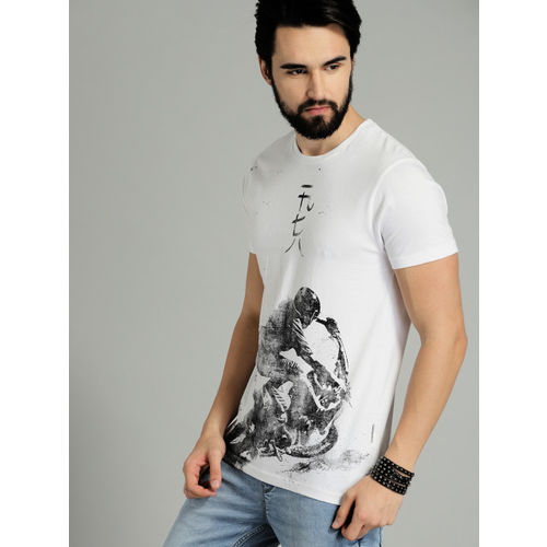 Roadster Men White & Black Printed Round Neck T-shirt