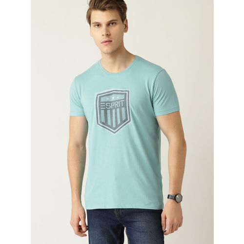 ESPRIT Men Sea Green Embroidered Detail Round Neck T-shirt