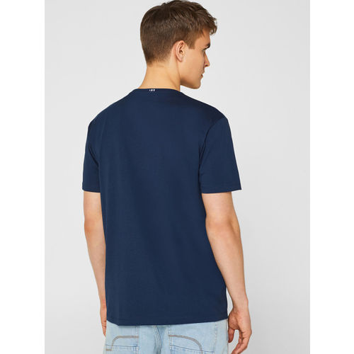 ESPRIT Men Navy Blue & Peach-Coloured Printed Round Neck T-shirt