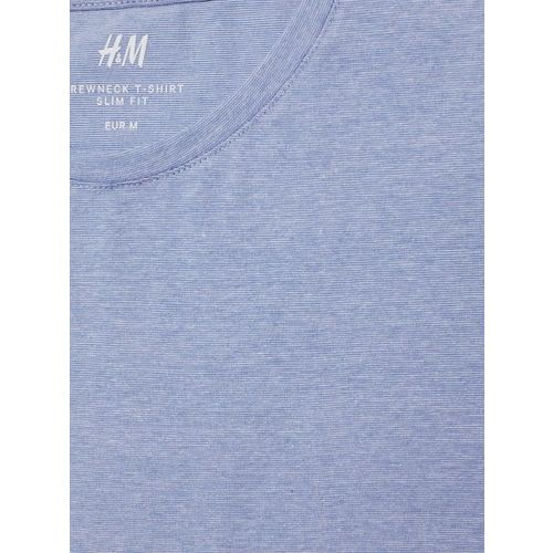 H&M Men Blue Solid Round-Neck T-Shirt Slim Fit