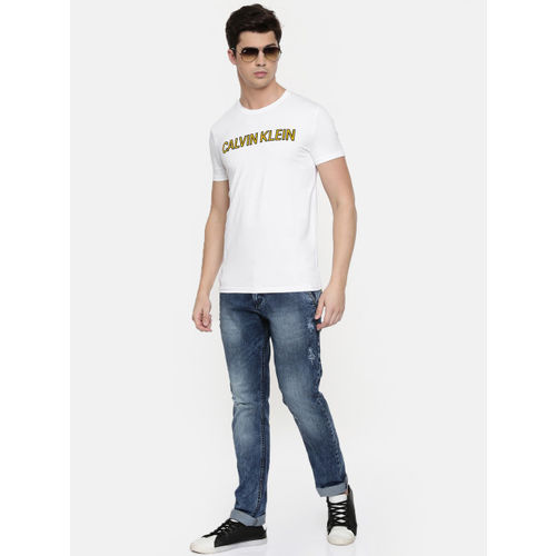 Calvin Klein Jeans Men White Printed Round Neck T-shirt