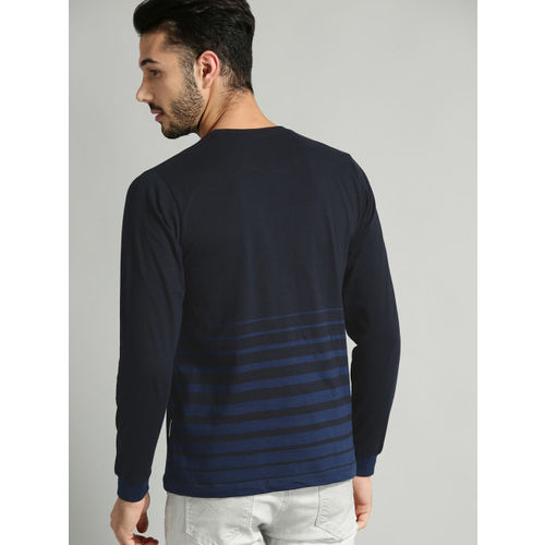Roadster Men Navy Blue Striped Round Neck T-shirt