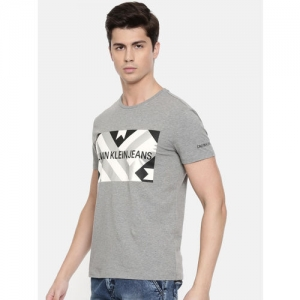 Calvin Klein Jeans Men Grey Melange Printed Round Neck T-shirt