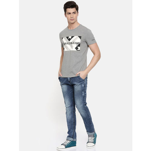 Calvin Klein Jeans Men Grey Melange Printed Round Neck T-shirt