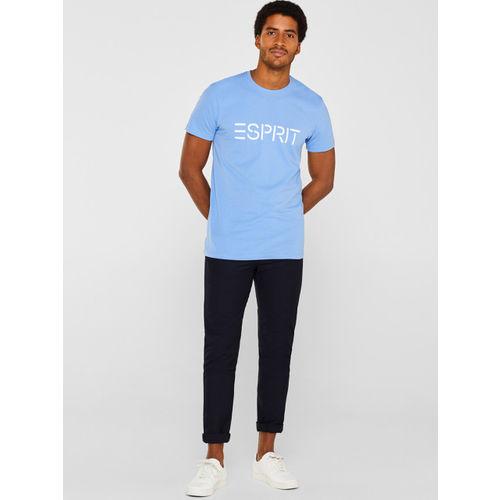 ESPRIT Men Blue Printed Round Neck T-shirt