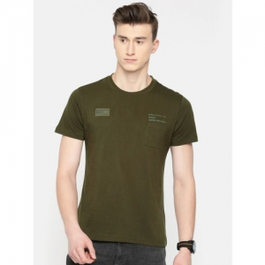 Wrangler Men Olive Green Solid Round Neck T-shirt