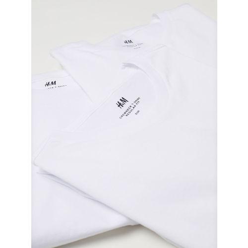H&M Men White Solid 3-pack T-shirts Regular Fit