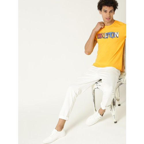 United Colors of Benetton Men Yellow Printed Round Neck T-shirt