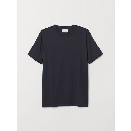 H&M Men Black Solid Cotton And Silk T-shirt