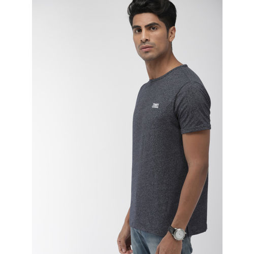 Tommy Hilfiger Men Navy Blue Melange Solid Round Neck T-shirt