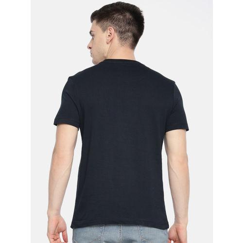 U.S. Polo Assn. Men Navy Blue Printed Slim Fit Round Neck T-shirt