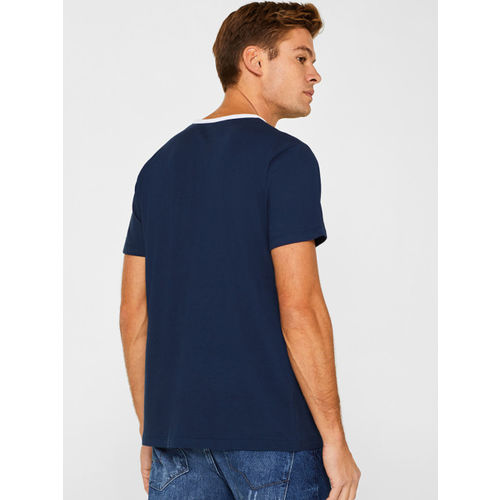 ESPRIT Men Navy Blue Printed Round Neck T-shirt