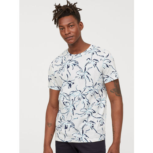 H&M Men White & Blue Printed Cotton T-shirt