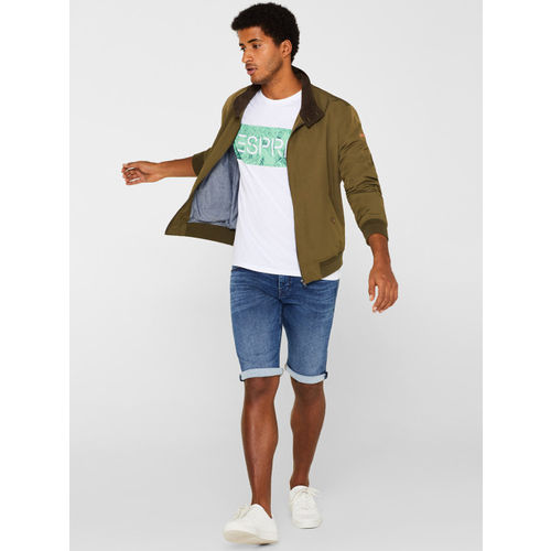 ESPRIT Men White & Green Printed Round Neck T-shirt