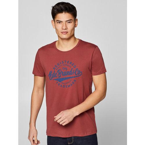 ESPRIT Men Rust Red Navy Blue Printed Round Neck T-shirt