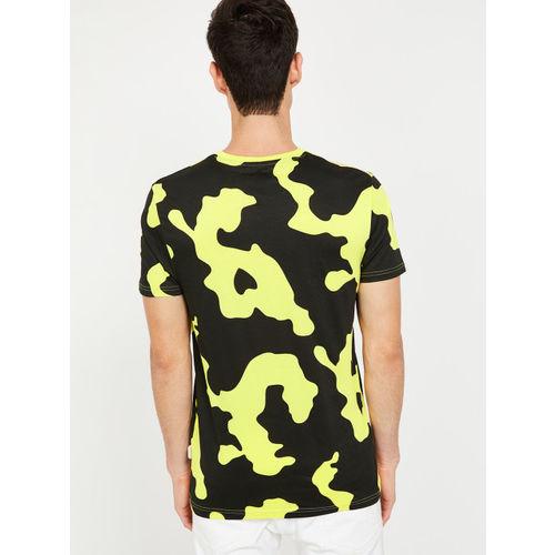 Smiley World Men Yellow & Black Printed Round Neck T-shirt