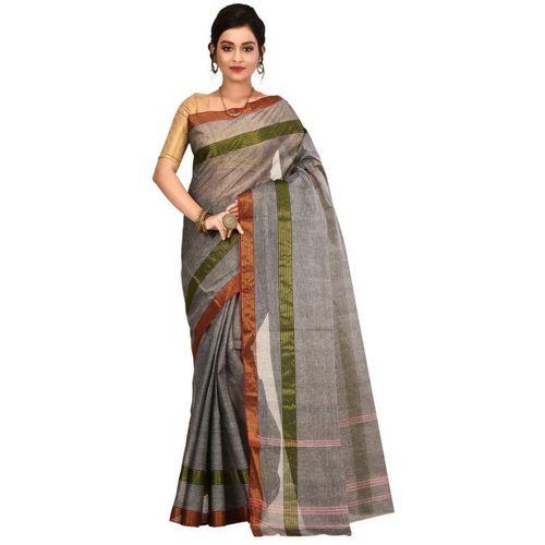 Aahiri Grey Self Design Tant Pure Cotton Saree