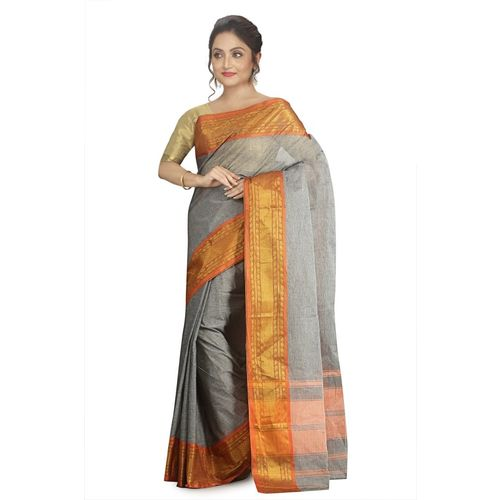 Aahiri Grey Self Design Handloom Cotton Blend Saree