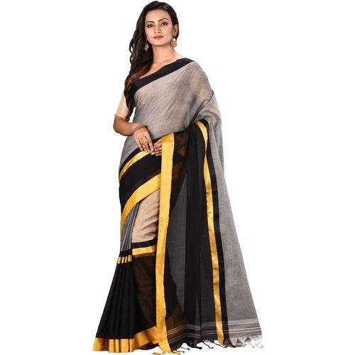 Aahiri Grey Self Design Handloom Pure Cotton Saree