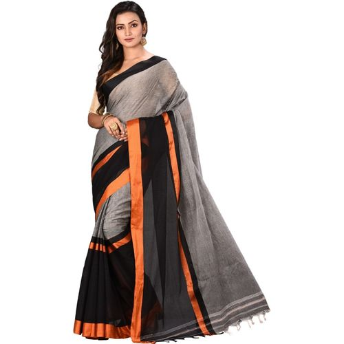 Aahiri Grey Plain Handloom Pure Cotton Saree