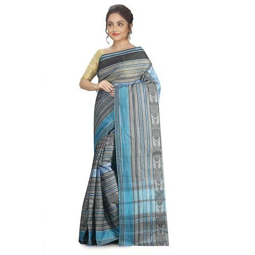 Aahiri Woven Handloom Cotton Blend Saree(Grey)