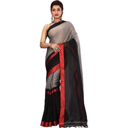 Aahiri Grey Plain Daily Wear Pure Cotton Saree