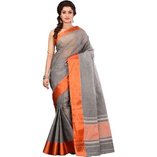 Aahiri Plain Daily Wear Pure Cotton Saree(Grey)