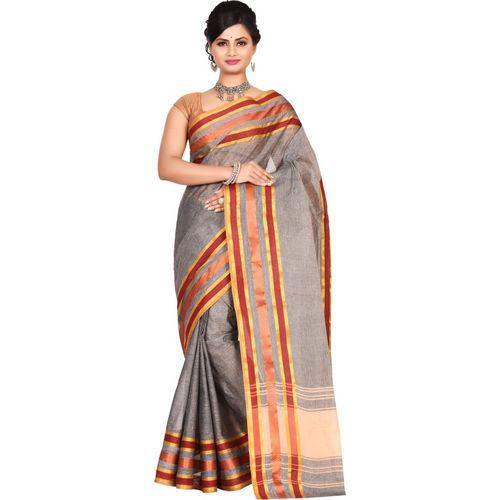 Aahiri Grey Self Design Tant Cotton Blend Saree