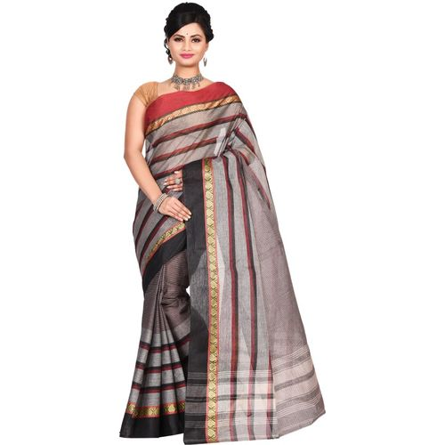 Aahiri Printed Daily Wear Cotton Blend Saree(Grey)