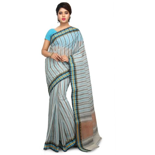 Aahiri Striped Tant Cotton Blend Saree(Blue, Grey)