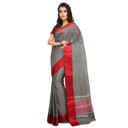 Aahiri Solid Tant Cotton Blend Saree(Grey)