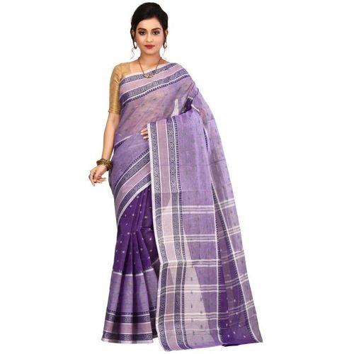 Aahiri Self Design Tant Pure Cotton Saree(Purple)