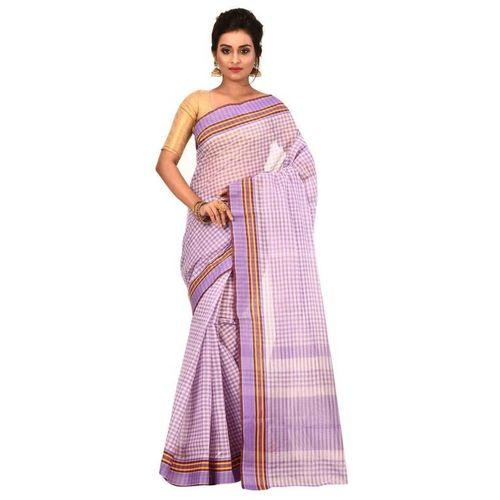 Aahiri Checkered Tant Pure Cotton Saree(Purple)