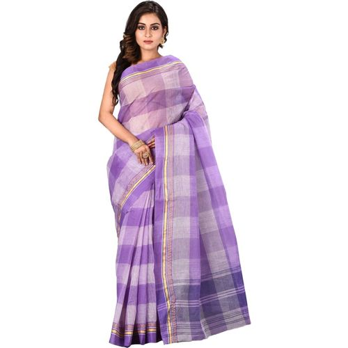 Aahiri Self Design Handloom Pure Cotton Saree(Purple)