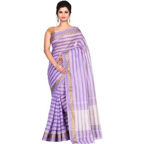 Aahiri Striped Fashion Cotton Blend Saree(Purple)