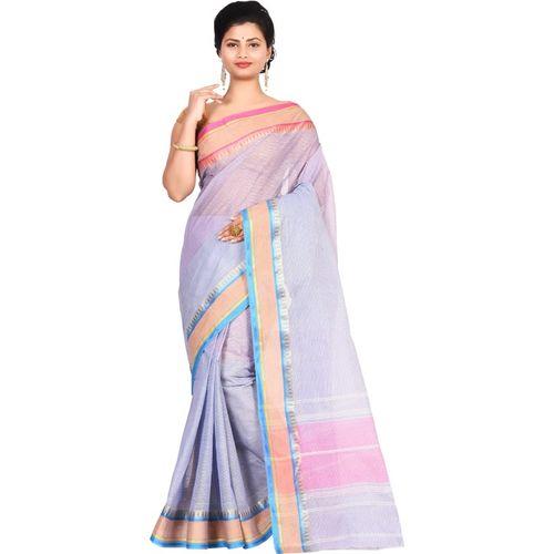 Aahiri Self Design Tant Cotton Blend Saree(Purple)
