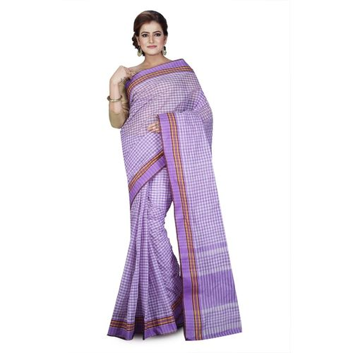 Aahiri Purple Checkered Tant Cotton Blend Saree