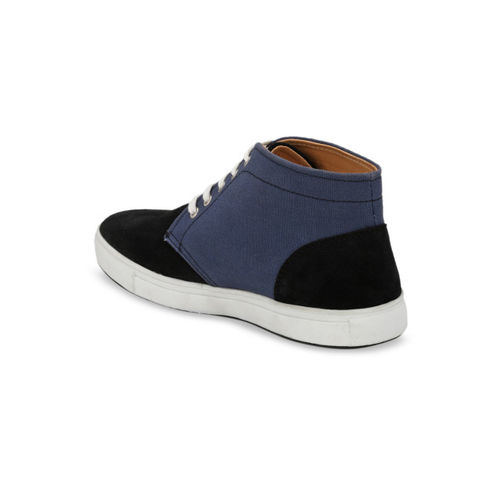 Guava Men Black & Blue Colourblocked Suede Mid-Top Sneakers