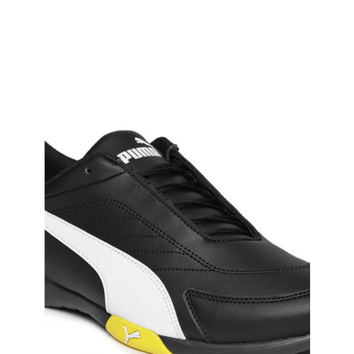 Puma Unisex Black & White SF Kart Cat III Solid Sneakers