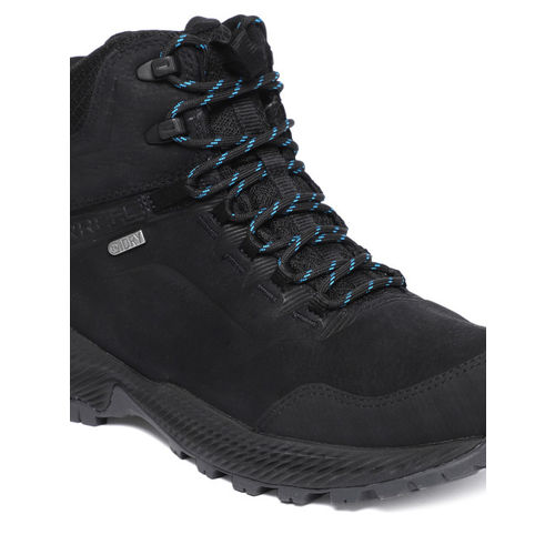 Merrell Men Black Solid Leather FORESTBOUND MID WP Mid-Top Sneakers