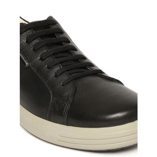 Buy Woodland Men Black Leather Sneakers