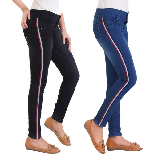 Ziva Fashion Skinny Women Black, Dark Blue Jeans(Pack of 2)