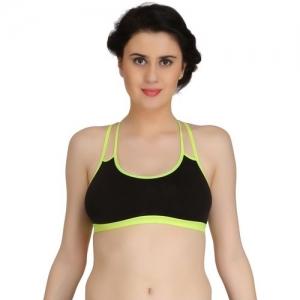 Fashion Comfortz byFashion Comfortz Women Sports Non Padded Bra(Green, Black)