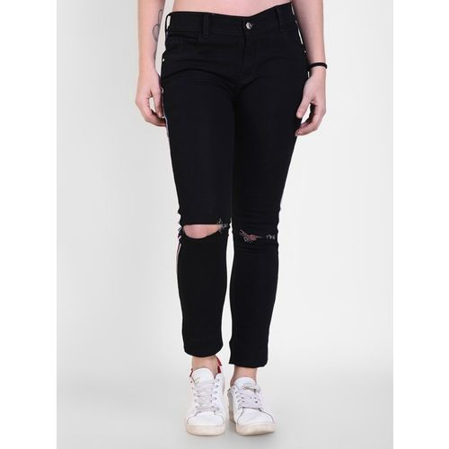 Crease & Clips Skinny Women Black Jeans