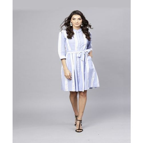 Street 9 Blue & White Striped Above Knee Dress